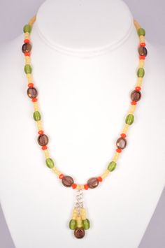 Boho Beaded Necklace Glass Beads Sterling by FiveLeavesFound, $32.00