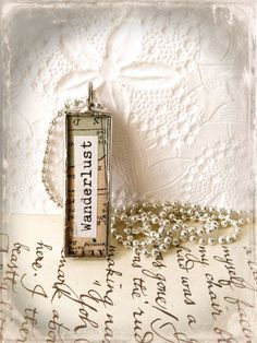 Wanderlust Necklace Soldered Glass Charm Typewriter by Mystarrrs
