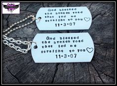 God blessed the broken road that led me straight to you - Couples anniversary necklace set - Song Quote