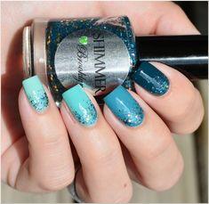 Çok güzel. blue green ombre nails with Shimmer Polish - Brooklyn