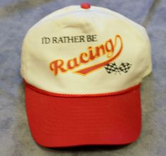 Vintage Id Rather Be Racing Adjustable Snap Back Hat Baseball Cap Red White VTG # #BaseballCap