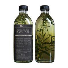 Rosemary, thyme and mint invigorating herbal bath oil 150ml (via Honey Kennedy)