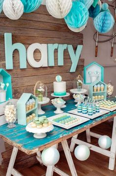 teal and robins egg blue dessert table for a baby boy shower. Dessert Table from a Rustic Beach Ball Birthday Party via Kara's Party Ideas! KarasPartyIdeas.com (4)