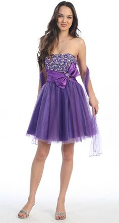 Purple Cocktail Dress Tulle Skirt Party Purple Prom Dress Strapless (Size XS to XL- 2 Colors Available)