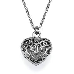 My Only One Filigree Heart Locket Necklace ($80) ❤ liked on Polyvore featuring jewelry, necklaces, accessories, colar, jewels, grey, sterling silver heart locket, filigree heart necklace, chain necklace and heart shaped necklace