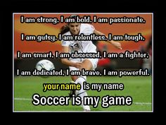 Personalized Confidence Poster, Soccer Motivation Wall Art, Daughter Wall Decor, SOCCER Is MY GAME Poster featuring Alex Morgan in the background. Personalized with the name of your choice, this poster highlights the traits of successful soccer players. Soccer Motivation, Motivation Wall, Soccer Goals, Girls Soccer, Play Soccer, Toddler Soccer, Soccer Sports, Motivational Wall Art, Inspirational Wall Art