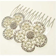 Acosta - Silver Tone Crystal and Pearl - Double Flower Bridal Hair Slide Comb / Accessory - Gift Boxed *** Click on the image for additional details. #HairJewellery