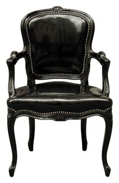 this shiny black chair... at a vanity table! ((for the bedroom or dressing area))