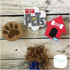 Secret life of pets centerpiece secret life of pets party Movie Party, Party Time, 2nd Birthday Parties, 4th Birthday, Birthday Party Centerpieces, Secret Life Of Pets, Puppy Party, Animal Birthday, Animal Party