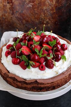 Berries and cherries on chocolate cake with mascarpone cheese frosting (anderson + grant: Friday Favorites)