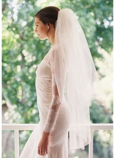 tulle and chantilly lace drop mantilla wedding veil, LOVE the lace sleeves too