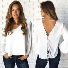 1706a5bdf82ee Clarity Crossback Blouse In White. V Neck ...