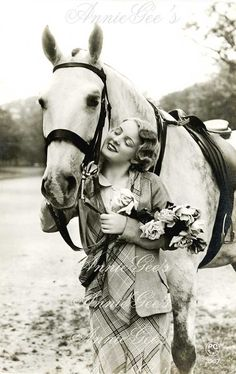 Equestrian Girl and Horse Photo - Instant Digital Download Photo Postcard D190A on Etsy, $3.50