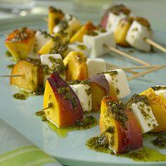 Mozzarella and Nectarine Skewers With Pesto