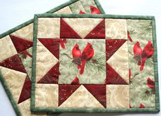 Quilted Christmas Winter Mug Rugs - Cardinals, Star Mug rugs