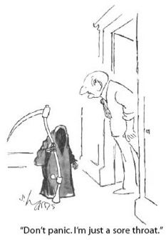 Humor from The New Yorker, including news satire by Andy Borowitz, funny cartoons and comics, Daily Shouts, and Shouts & Murmurs. New Yorker Cartoons, Roz Chast, Cartoon Posters, Don't Panic, Classic Cartoons, Sore Throat, The Grim, Grim Reaper, The New Yorker