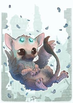 Trico Chibi - Fanart The Last Guardian by on DeviantArt Mythical Creatures Art, Cute Creatures, Magical Creatures, Fantasy Creatures, Cute Drawings, Animal Drawings, V Chibi, Art Mignon, Pokemon