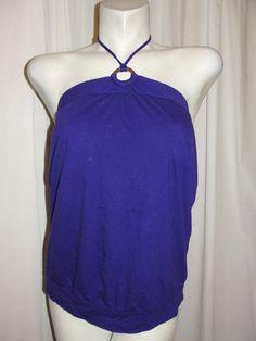 GAP Womens Top Purple 100% Cotton String Tie Halter Shelf Bra Shirt Size L/Large #GAP #Halter #Casual
