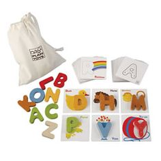 Eco-Friendly Letter Match Set promotes early skills through matching, identifying letter names and sounds, and fine-motor activities.