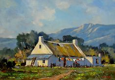 Artwork of Dale Elliot exhibited at Robertson Art Gallery. Original art of more than 60 top South African Artists - Since Farmhouse Paintings, Ant Art, Lemon Painting, Pintura Exterior, Book Page Art, South African Artists, Cottage Art, Landscape Artwork, Tree Art