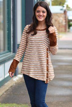 Button that Stripe Top {Camel} - The Fair Lady Boutique - 1