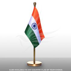 Indian miniature table flag of size x with a chrome-plated, plastic square base, staff and finial top Table Flag, How To Look Classy, Chrome Plating, Flags, Miniatures, Base, Indian, Pure Products, Classic