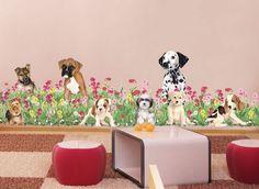 Wild Flowers & Puppies Mural