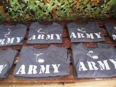 Greatfun4kids: Army Combat stencilled Army tshirts and metal stamped dog tags party favors