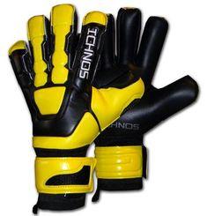 Ichnos Braja Black Yellow football goalkeeper gloves with protective finger bars
