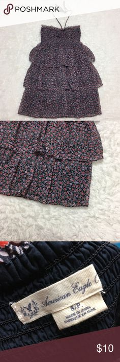 AEO Floral Ruffle Dress : D American Eagle Outfitters size small floral print ruffle tiered dress ties around neck good used condition  Approximate measurements  ▪️Pit to Pit inches  ▪️Pit to Hem inches  Thank you for checking out my closet! Offers are always welcome or bundle for bigger savings. If you have any questions feel free to ask! American Eagle Outfitters Dresses Mini
