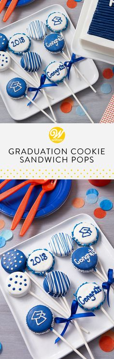 Celebrate your graduate with these Graduation Cookie Sandwich Pops! Customize these pops to your graduate's school colors using Candy Melts candy and include classmate's names. These would make the cutest party favor! Cake Decorating Tutorials, Cookie Decorating, Graduation Treats, College Graduation, Trunk Party, Cookie Pops, Cookie Time, Wilton Cakes, Candy Melts