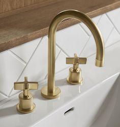 Shower Faucet, Bathroom Faucets, Bathroom Lighting, Brass Bathroom Fixtures, Blush Bathroom, Brass Faucet, Widespread Bathroom Faucet, Brass Hardware, Layout Design