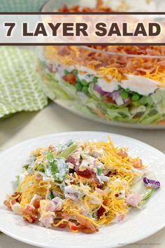 This 7 Layer Salad is the perfect addition to any meal or potluck. With layers of veggies, a tangy dressing, cheese, and bacon, this will be a new favorite! #bacon #salad #potluck Healthy Recipes, Cooking Recipes, Cooking Tips, 7 Layer Salad, Seven Layer Salad Dressing Recipe, Salad Recipes For Dinner, Salad Recipes Yummy, Lettuce Salad Recipes, Delicious Recipes