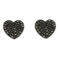 Pre-owned Black Heart Rhinestone Stud Earrings ($30) ❤ liked on Polyvore featuring jewelry, earrings, black, preowned jewelry, pre owned jewelry, heart jewelry, sparkle jewelry and sparkly earrings