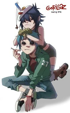 gorillaz Damon Albarn y Jamie Hewlett Damon Albarn, Cyborg Noodle, Gorillaz Noodle, Gorillaz Fan Art, Gorillaz Art Style, Gorillaz Quotes, Jamie Hewlett Art, 2d And Noodle, Character Art