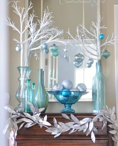 A Blue Christmas - winter entry vignette from Centsational Girl. blue and silver Christmas decorations Silver Christmas Decorations, Christmas Mantels, Primitive Christmas, Christmas Themes, Vintage Christmas, Christmas Vignette, Coastal Christmas Decor, Elegant Christmas, Rustic Christmas