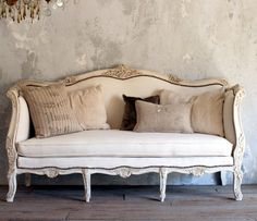 Vintage Shabby French Style Louis XV  Daybed Sofa Cream Upholstered-antique,rose, cream, painted, furniture,sofa,hand carved, wood, burlap, tacks, brass