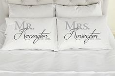 Set of 2 StandardQueen Personalized Couples Pillow Cases Mr and Mrs Custom Printed PillowCases Wedding Gift Anniversary Romantic Gift Idea ** Want to know more, click on the image.