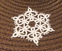 Hand tatted Christmas ornament  snowflake Sweet Rose by IzabelkaG