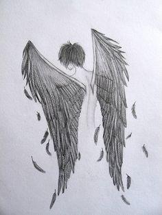 Raven boy Black Angel Original Pencil DrawingA4OOAK by Wilyville, $15.00