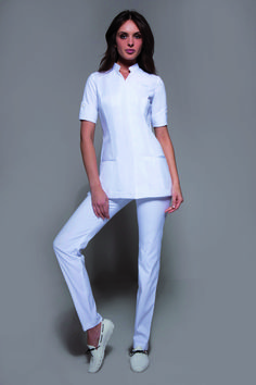 Designer Spa Uniform that embodies Elegance & Fashion! The Niagara & Cordoba uses a state-of-the-art fabric, to give you a polish, impeccable, upscale look & figure! Salon Uniform, Spa Uniform, Uniform Ideas, Dental Uniforms, Work Uniforms, Beauty Therapist Uniform, Beauty Uniforms, Uniform Design, Professional Wardrobe