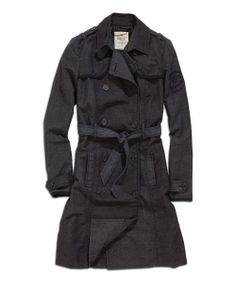 Black Double-Breasted Trench Coat