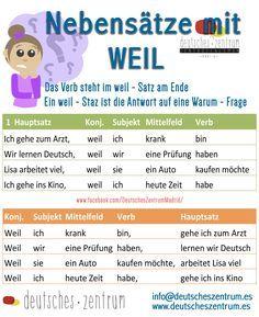 Nebensätze mit WEIL Deutsch - Duits - Wortschatz - woordenschat - bijzinnen - omdat - Grammatik - grammatica