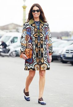 street style printed coat  How to dress in your 30's and beyond. Tip 5: Continue to take fashion risks.