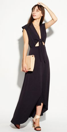 The little black dress gets a maxi makeover with this unique style by Reformation. #LBD