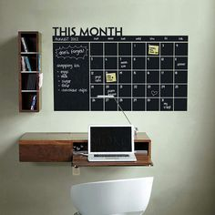Diy  Monthly chalkboard calendar  Vinyl Wall Decal Removable Planner mural wallpaper vinyl Wall Stickers  64*100CM Free shipping-in Wall Stickers from Home & Garden on Aliexpress.com