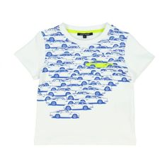 Aston Martin Boys White T-Shirt with Blue and Lime Car Print