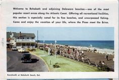 Boardwalk at Rehoboth Beach, Del. From the George and Irene Caley Postcard Collection donated to the Delaware Public Archives. Delaware County, Sussex County, Delaware Life, Rehoboth Delaware, Rehoboth Beach, Beach Color, Old Pictures, The Neighbourhood, Public