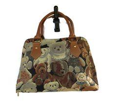 Teddy Bear TAPESTRY Purse Handbag Bag Vintage 90's Kitsch Novelty Hipster Indie Kawaii