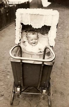 vintage baby in carriage. Learn about new ways to monitor your child: http://www.withings.com/en